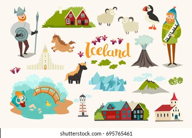 Iceland landmarks vector icons set. Illustrated travel collection. Icelandic travel attraction, isolated on white background
