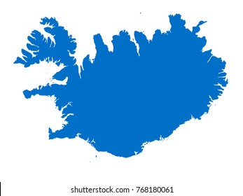 Iceland  map Blue vector isolated on white background