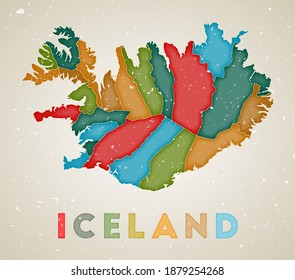 Iceland map. Country poster with colored regions. Old grunge texture. Vector illustration of Iceland with country name.