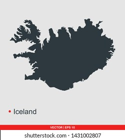 Iceland map flat icon, vector illustration on gray background