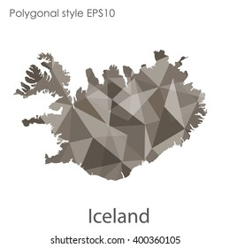 Iceland map in geometric polygonal style.Abstract gems triangle,modern design background.