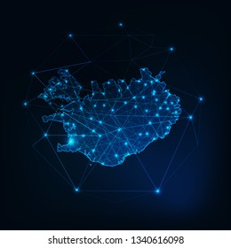 Iceland map glowing silhouette outline made of stars lines dots triangles, low polygonal shapes. Communication, internet technologies concept. Wireframe futuristic design. Vector illustration