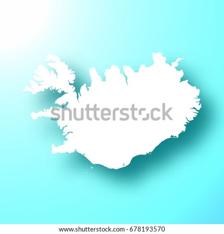 Iceland Map Isolated On Bright Blue Stock Vector (Royalty Free ...