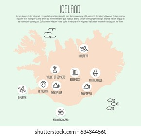 Iceland map with thin line icons of all main tourist attractions. Vector illustration.
