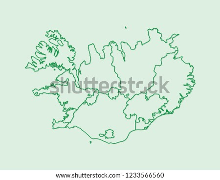 Iceland Map Vector Counties Using Green Stock Vector (Royalty Free ...