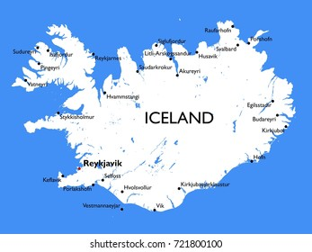 Iceland map | Vector detailed color Iceland map