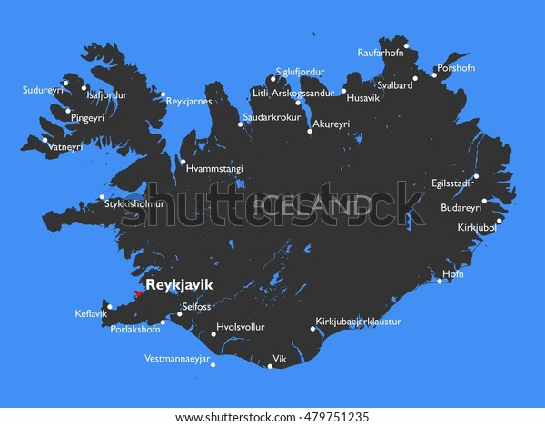 Iceland Map Vector Detailed Color Iceland Stock Vector (Royalty Free ...