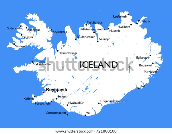 Iceland Map Vector Detailed Color Iceland Stock Vector ...