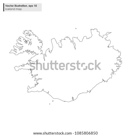 Iceland Map Vector Line Illustration On Stock Vector (Royalty Free ...