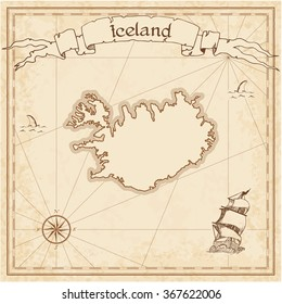 Iceland old treasure map. Sepia engraved template of Iceland treasure map. Stylized Iceland treasure map on vintage torn paper.
