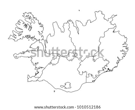 Iceland Outline Map Detailed Isolated Vector Stock Vector (Royalty ...