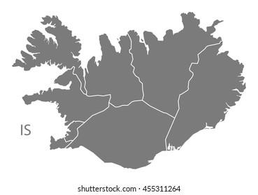 Iceland regions Map grey