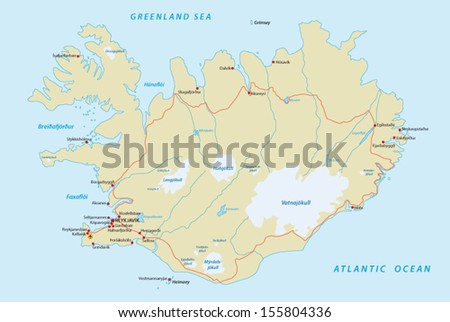 Iceland Road Map Stock Vector (Royalty Free) 155804336 - Shutterstock