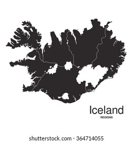 Iceland silhouette regions map