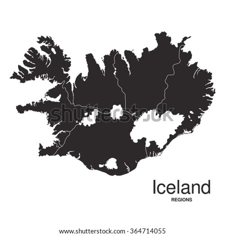 Iceland Silhouette Regions Map Stock Vector (Royalty Free) 364714055 ...