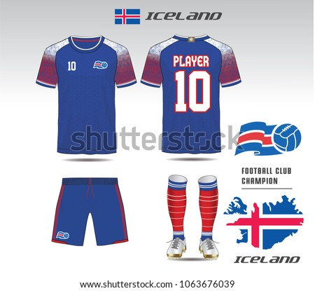 iceland soccer jersey team apparel template stock vector royalty