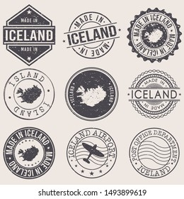 Iceland Travel Stamp Made In Product Stamp Logo Icon Symbol Design Insignia.