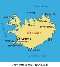 Iceland - vector map