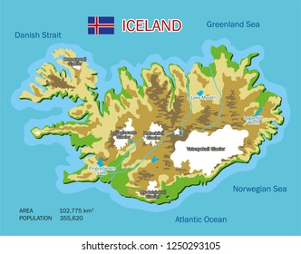 Iceland vector map. Travel illustration with rivers, lakes, glaciers, seas and oceans. Marks with the main tourist attractions