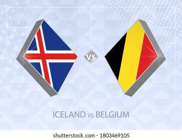 Iceland vs Belgium, League A, Group 2. European Football Competition on blue soccer background.