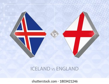 Iceland vs England, League A, Group 2. European Football Competition on blue soccer background.