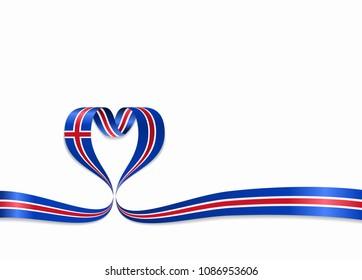 Icelandic flag heart-shaped wavy ribbon. Vector illustration.