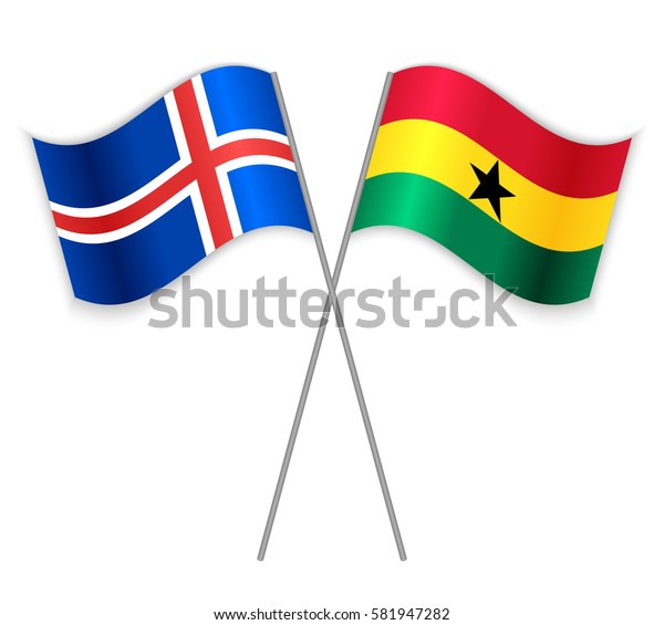 Icelandic and Ghanaian crossed flags. Iceland combined with Ghana isolated on white. Language learning, international business or travel concept.
