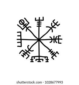 Icelandic magic runic sign (Vegvisir), doodle icon