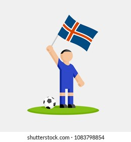 Icelandic soccer player in kit with flag and ball