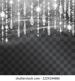 Icicle hanging vector garland, tinsel, curtains for Christmas, winter holidays with shining sparkling stars, glitter for celebration banners, posters, invitations. Silver light effect crystal drops.