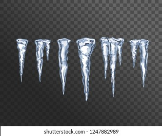 Icicle. Stalactite, ice spikes. Icicles set isolated on transparent background. Winter weather, snow crystals. Vector design elements