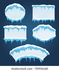 Icicles boards. Vector frozen ice icicle frames for sale or winter school isolated on blue background
