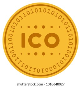 ICO Caption golden digital coin icon. Vector style is a gold yellow flat coin cryptocurrency symbol.