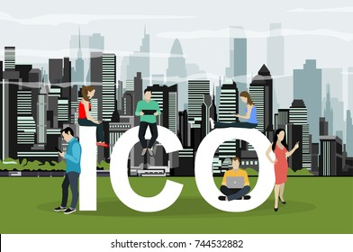 ICO  concept illustration vector illustration of various people. Flat design of initial coin offering of cryptocurrency.