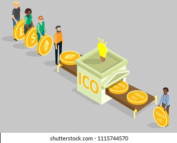 ICO concept vector isometric illustration. Multi-ethnic group of people with dollar, bitcoin, ethereum coins buying ico tokens while making investments into new cryptocurrency project.