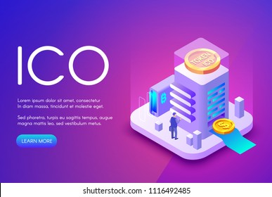 ICO cryptocurrency vector illustration of bitcoin and tokens for crowdfunding investment and business startup. Crypto currency and bit coin commerce technology on purple ultraviolet background