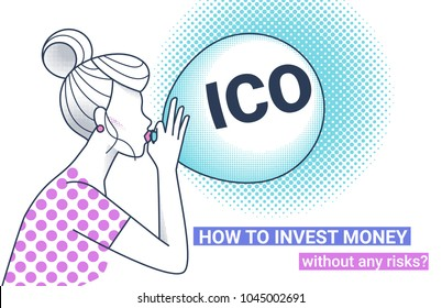 ICO fraud conceptual design how to invest money without risks. Initial coin offering concept white vector illustration of woman with big air balloon with ICO letters as a financial bubble and scam.
