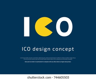 ICO fraud conceptual design. Initial coin offering concept vector illustration of white and yellow letters ICO as a financial a scam