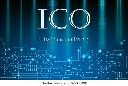 ICO initial coin offering background, blockchain business concept. Vector illustration