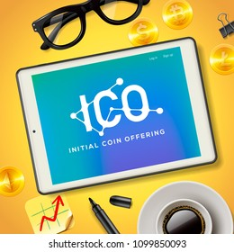 ICO Initial Coin Offering Business Internet Technology Concept on a screen of tablet device, vector illustration