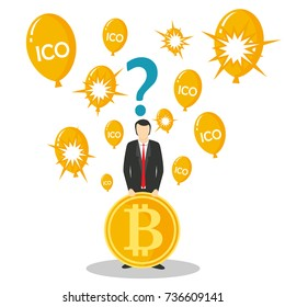 ICO or initial coin offering concept vector illustration. Businessman holding bitcoin, question mark above his head and balloons with ICO lettering or bursting balloons. Fraud and deceit with new ICO