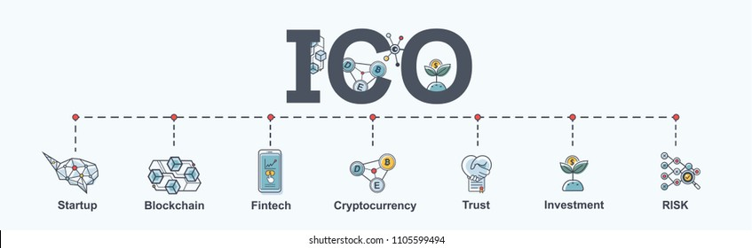 ICO (Initial Coin Offering) infographic web banner icon. Startup, Blockchain diagram, cryptocurrency, fintech, Trust, Investment and Risk. vector in modern flat style.