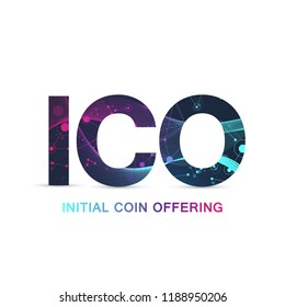 ICO (Initial Coin Offering) infographic web banner. Initial coin offering promo poster with world map. Cryptocurrency e-commerce texture conceptStartup, Blockchain diagram, vector illustration.