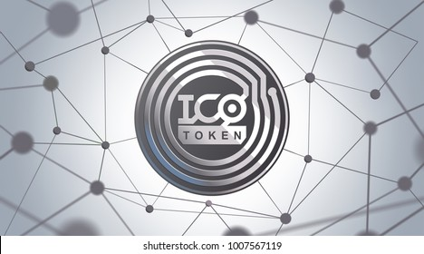 ICO - Initial Coin Offering. ICO token concept. Silver token on 3D virtual graphical user interface. Great illustration for news, presentation, social media, blog