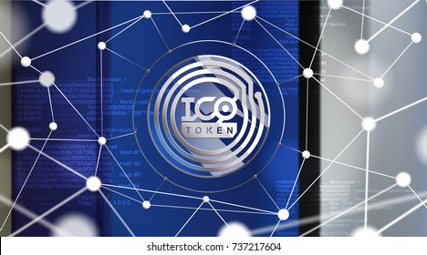 ICO - Initial Coin Offering. ICO token concept. Button with ICO token icon on a virtual graphical user interface. Great illustration for news, presentation, social media, blog