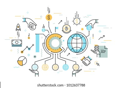 ICO or initial coin offering word surrounded by bitcoin cryptocurrency, money bills, fiat currencies. Colorful infographic banner with elements in thin line style. Vector illustration for advertising.