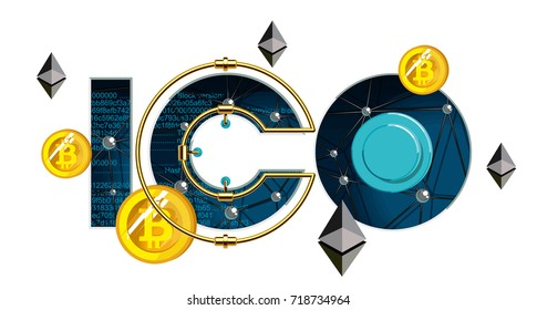 ICO Start. ICO Blockchain technology, ICO vector illustration isolated on white. Initial coin offering. Coin offers. IT startup crowdfunding.