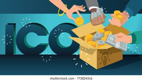 ICO start. ICO idea. Blockchain ICO vector illustration. Initial coin offering. IT startup crowdfunding. Hands with bitcoin and ethereum. Cardboard box with cash. Cardboard box with ICO tokens