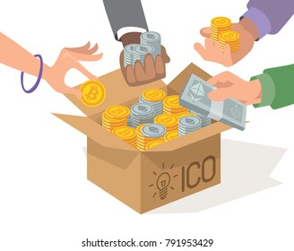 ICO vector cartoon illustration. Initial coin offering. Blockchain technology concept for infografic. IT startup crowdfunding. Hands with bitcoin and ethereum. Cardboard box with tokens.
