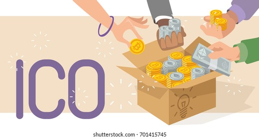 ICO vector illustration. Blockchain ICO. Initial coin offering. ICO tokens. IT startup crowdfunding. Hands with bitcoin and ethereum. Cardboard box with cash.